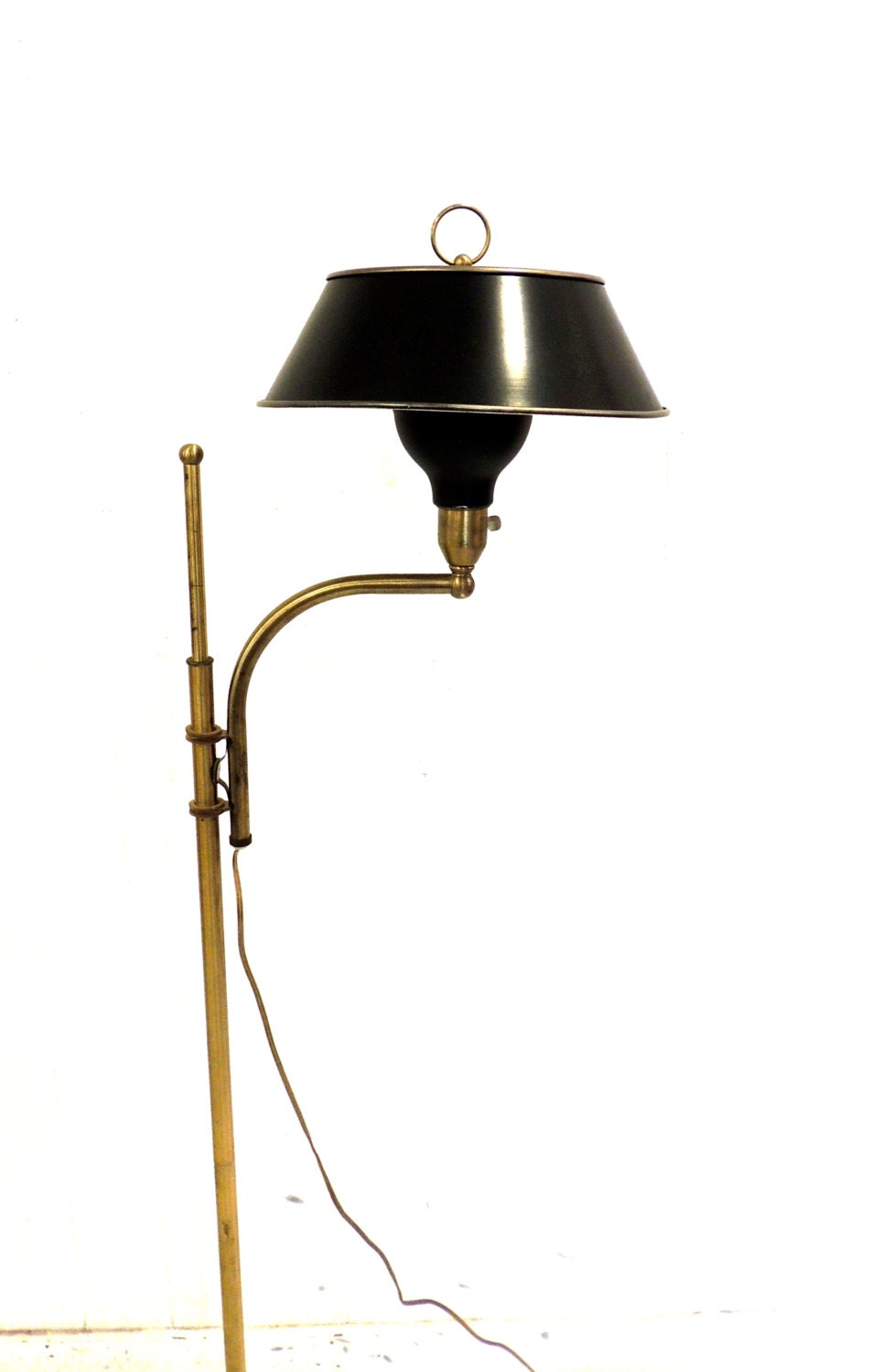 Vintage Flying Saucer Floor Lamp 1950s 60s Brass Black By