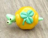 Yellow Green Shamrock St Patricks Day Turtle Lampwork Handmade SRA Glass Bead NLC Beads leteam
