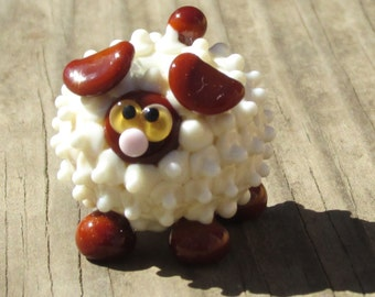 Brown and Ivory Sheep Lamb Ewe Lampwork Handmade SRA OOAK Glass Bead NLC Beads leteam
