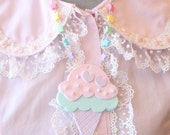 Fairy Kei Double Scoop Ice Cream Necklace Pastels Pink x Mint x Lavender