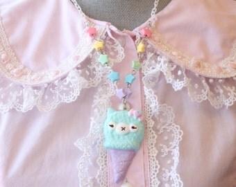 Kawaii Alpaca Ice Cream Cone Necklaces  Light Blue X Lavender