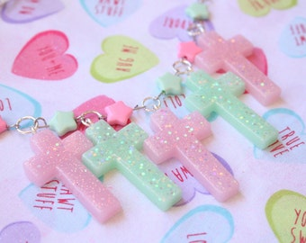 Fairy Kei Pastel Cross Necklace Made To Order