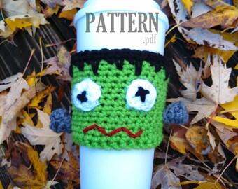 FRANKENSTEIN Crochet PDF Pattern ~ Halloween Cup Cozy ~ Coffee Mug Sleeve ~ Frankenstein Crochet ~Mug Warmer ~ Crochet Coffee Cozy