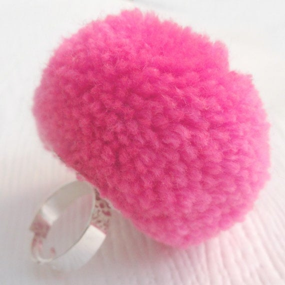 Pink Pom Pom Cocktail Ring, womens cocktail rings, statement rings ...