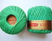 Green Crochet Thread Vintage J & P Coats Knit-Cro-Sheen Boilfast