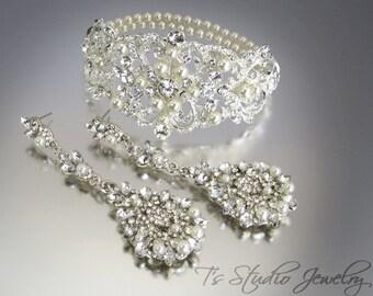 Bridal Cuff Bracelet and Pearl Chandelier Earrings Set - Crystal Rhinestones and Pearls