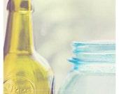 bathroom decor, kitchen art, glass bottles photo, shabby chic, modern print, olive green, aqua blue, still life photography, 5x5 12x12 print