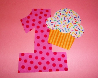 1 Iron On Birthday Applique Pink Dotted Number 1 With CUPCAKE...You Choose Any NUMBER