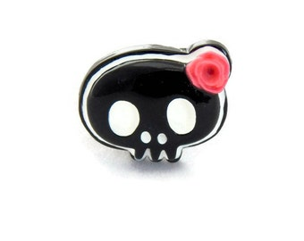 Black & White Skull Ring - Pinup, Rockabilly, Retro - Girly Skull with Pink Rose