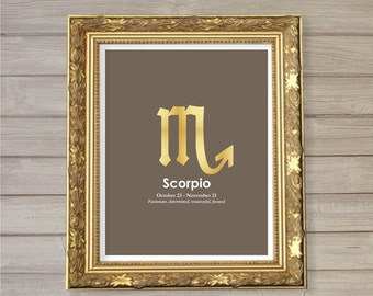 Scorpio Zodiac Horoscope Instant Download Printable Faux Gold Foil 8x10 - Birthday Gift Astrology Poster Home Decor Wall Room Art