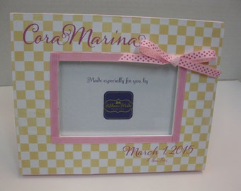 Checkerboard Frame- Yellow and Pink Personalized with or without Birthdate