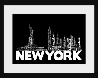 New York Skyline Black Word Art Typography Print Poster