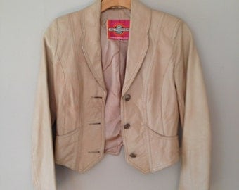Palest Pink Leather Jacket - XS/S