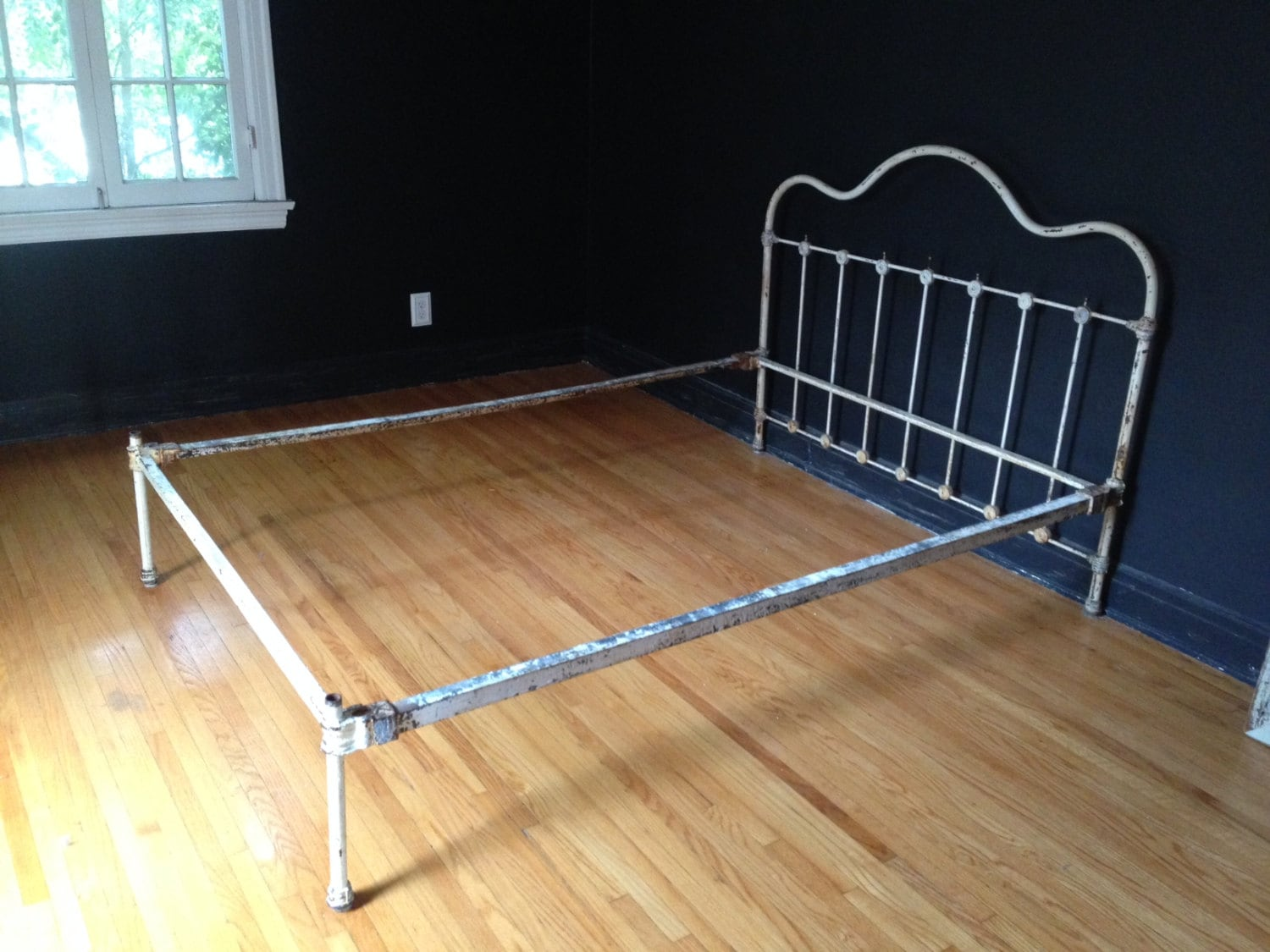 Antique Chippy White Cast Iron Bed Frame By