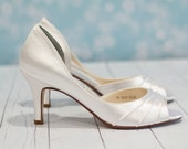 Wedding Shoes - Heel Size 2.5 Inches  - Choose From over 150 Shoe Colors - Short Wedding Heel Peep Toe Shoes For Wedding - Parisxox Shoes