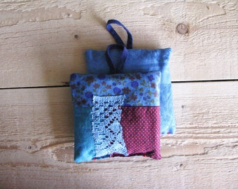 blue rustic lavender sachets - blue and red hand dyed patchwork set of 2 - rustic home - lavender pillow - aromatherapy pillow - dresser