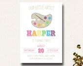 Paint Party Artist Palette Rainbow Birthday Invitation Printable or Profesionally Printed