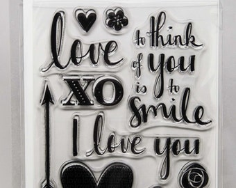 KaiserCraft XO Collection Clear Stamps -- Acrylic -- I love you smile heart arrow