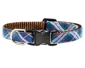 "Cat Collar - ""The Woodsman"" - Blue Plaid"