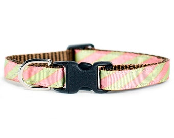 "Cat Collar - ""The Intern"" - Pink and Lime stripes"
