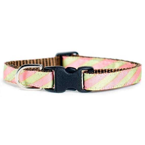 """Cat Collar - """"The Intern"""" - Pink and Lime stripes"""