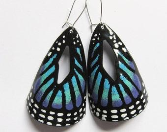 Butterfly jewelry Big blue butterfly dangle earrings Enamel statement jewelry One of a kind artisan jewelry