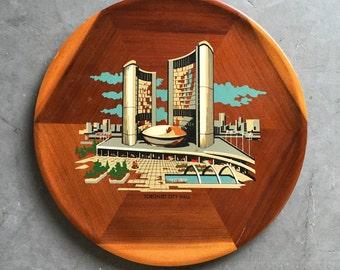 Vintage Toronto City Hall Design Panorama Canada Wood Tray