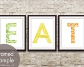 EAT (Kitchen Fork Knife Spoon) Series B - Set of 3 - Art Prints (Featured in Grass, Canary and Orange Peel) Customizable Kitchen Art Print