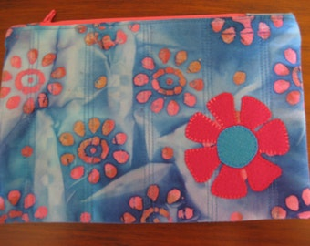 Zipper Bag with Wool Flower, Turquoise and Pink Batik