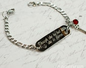 Though she be but little, she is fierce engraved bracelet, stainless steel with swarovski crystal or pearl