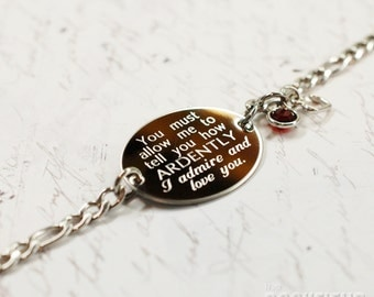 Mr. Darcy's proposal quote oval bracelet, stainless steel with swarovski crystal or pearl