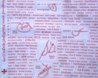 Polka Dot Stitches Lori Holt Riley Blake fabrics text red white FQ or more OOP HTF