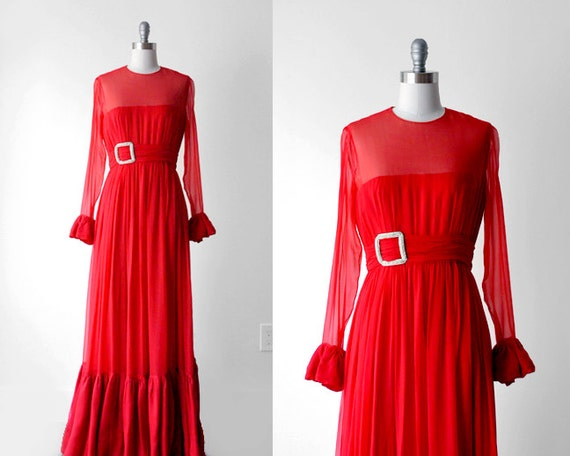 1970's red dress. maxi. 70's chiffon gown. ruffle dress. small. 70 vintage long dress.