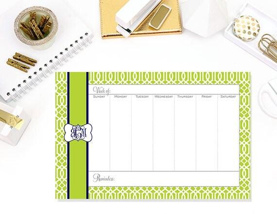 Lattice Print Personalized Weekly Desk Planner Desktop