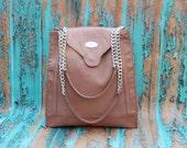 Beige / Bronze Leather Shoulder Tote. Shoulder Bag. Handmade Handbag. Modern Woman Tote. Micaela Tote. FREE SHIPPING