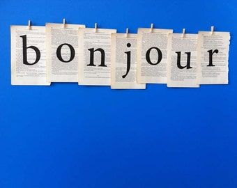 BONJOUR decoration made from vintage book pages, French typographic bunting