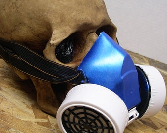 Electric Blue and White Cosplay Steampunk Industrial Respirator Gas Mask