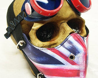2 pc Distressed Worn-Out Red, White, Blue BRITISH UNION JACK Dust Riding Mask with Matching Goggles Set - A Burning Man Must Have