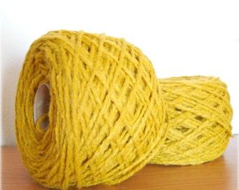Wool Blend Yarn - Hand Knitting - Thick Gauge Yarn - Knitting Yarn - Mustard Yellow - One Ball 130g - Soft yarn