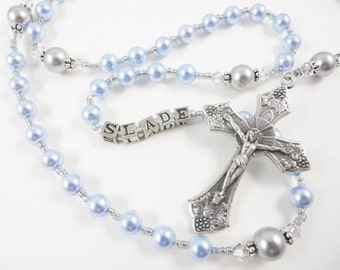 Personalized Rosary for a Boy in Light Blue and Gray - Swarovski Crystals - Baptism, First Communion, Confirmation