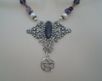 Amethyst Pentacle Necklace, wiccan jewelry pagan jewelry wicca jewelry witch witchcraft metaphysical pentagram goddess magic wiccan necklace