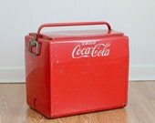 1950s Metal Coca Cola Cooler, Vintage Drink Cooler by Cavalier with Bottle Opener, Drink Coca Cola, Picnic Cooler, Set Design, Photo Prop