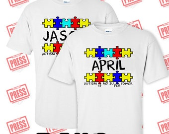 Autism Puzzle and customize with your name (T-shirt)