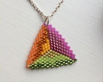 Magic Triangle fresh tropical delica bead pendant