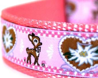 Deer and Hearts Dog Collar, 1 inch width, Big Dog Collar, Pink Dog Collar, Girl Pet Collar