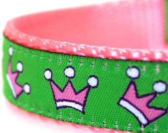 Pink Crowns Dog Collar, Pink, Adjustable Pet Collar, Tiara Princess Dog Collar