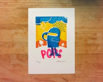 "Gocco print ""Relámpago Pops"" - Limited Edition."