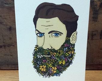 Flower Beard Greetings card