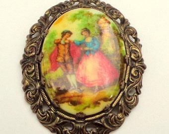 Vintage Brooch/Pendent, Painted Victorian Scene Brooch,Poss. Decal Art Brooch, Edwardian Fantasy, Signed Portrait