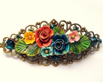 Flower Garden Crystal Barrette, Multi-Color, Rose,Vintage Style,Hair Accessories,Bride,Bridesmaid Filigree Barrette,Emerald Crystals